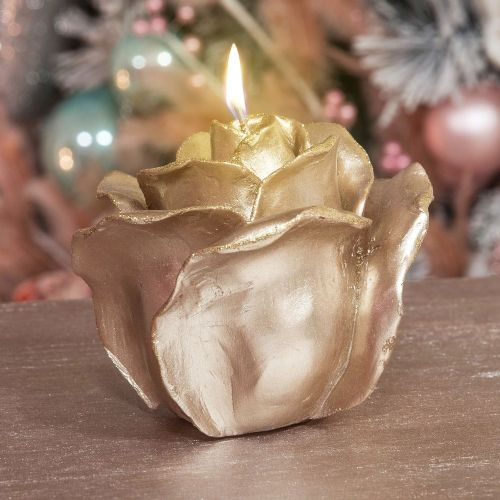 Golden Rose Shaped Christmas Carved Crafted Candle